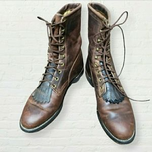 Genuine Leather redish-brown Kiltie Roper boots